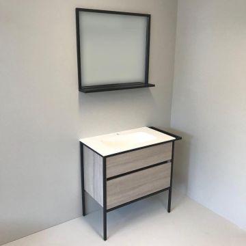 Badmeubelset 3-delig Eternal 90cm eiken - mat zwart, met solid surface wastafel en spiegel