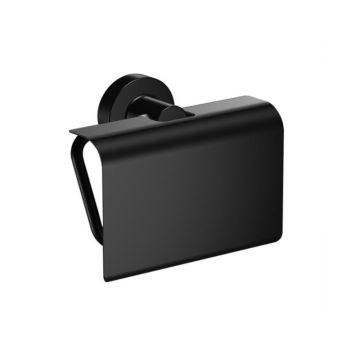Toiletrolhouder Techno met klep mat zwart