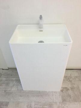 Wastafel vrijstaand Cube 60x42cm Solid Surface mat wit