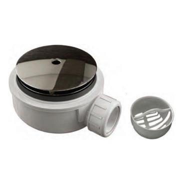 Plat douchebak sifon inbouwhoogte 55mm met afdekplaat en zeefje voor gatmaat 90mm