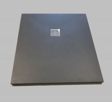Composiet douchebak Solid 90x120cm antraciet structuur egaal