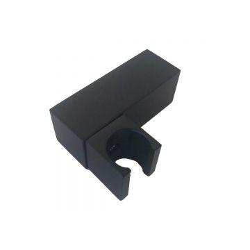 Kantelbare metalen houder Cuadro voor handdouche vierkant mat zwart