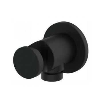 Muuraansluiting voor doucheslang mat zwart met handdouche houder