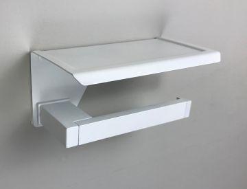 Toiletrolhouder Cube wit met planchet voor smartphone