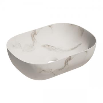 Keramische ovale opbouw waskom Oval mini 46x33cm marmer