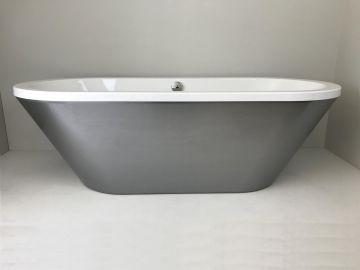 Vrijstaand acryl bad Loft 180x80cm wit met geborsteld staal effect paneel