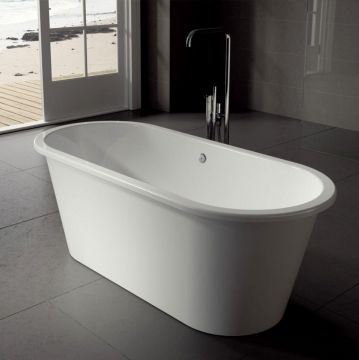 Vrijstaand Solid Surface bad Iona 156x69cm wit glans