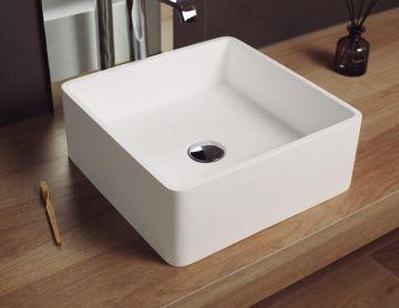 Solid Surface waskom opbouw Arte 40x40cm mat wit