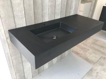 Vrijhangende composiet wastafel Solid Stone, 110x45cm zwart